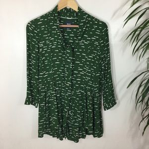 Anthropologie Tops - Anthropologie Maeve Green Cloud Print bow blouse